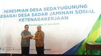 BPJS Ketenagakerjaan resmikan Desa Sedayu Gunung sebagai Desa Sadar Jaminan Sosial.