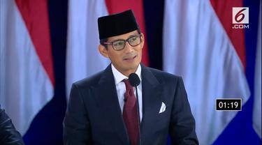 Calon wakil presiden nomor urut 02 Sandiaga Uno saat Debat Kelima Pilpres 2019. (Liputan6.com)
