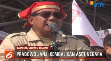 Capres yang diusung Partai Gerindra ini juga kembali menyentil soal kekayaan Indonesia yang hanya dipegang segelintir orang.
