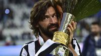 Empat trofi Scudetto, sekali Coppa Italia, dan dua kali Piala Super Italia pernah dipersembahkannya. Andrea Pirlo mencatatkan 164 penampilan dengan 19 gol dan 38 assist. (AFP/Giuseppe Cacace)