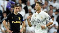 Tiga gol yang digelontorkan Cristiano Ronaldo (CR7) ke gawang Atletico Madrid  saat pada leg pertama semifinal Liga Champions menjadikannya sebagai pemain pertama yang mengemas 50 gol di fase gugur Liga Champions, Spanyol, Selasa (2/5). (AFP Photo)