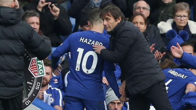 Eden Hazard bersama Antonio Conte. (dok. Chelsea FC)