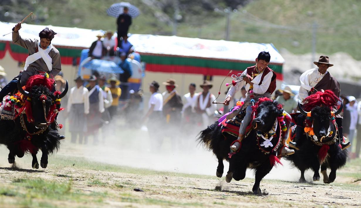 Penduduk desa dari Wilayah Quxu memamerkan keterampilan menunggang kuda dalam perayaan Festival Ongkor di Lhasa, Daerah Otonom Tibet, China (6/8/2020). Festival Ongkor atau Panen Raya, sebuah warisan budaya takbenda nasional. (Xinhua/Soinam Norbu)