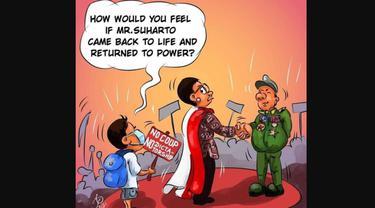 Karikatur dari netizen Myanmar yang menyindir Menlu Retno Marsudi.