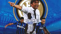 Inter Milan - Antonio Conte, Achraf Hakim, Lukaku, Lautaro Martinez (Bola.com/Adreanus Titus)