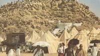 Tenda yang digunakan jamaah haji biasanya terlihat di Arafah.   via: National Geographic Magazine