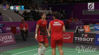 Perjuangan pasangan ganda putri Indonesia Greysia Polii/Apriyani Rahayu harus terhenti di semifinal setelah dikalahkan pasangan Jepang dua set langsung.