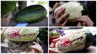 Hasil 'sulap' seniman italia mengubah semangka menjadi sosok naga yang mengerikan. (Oddity Central)