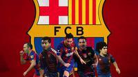 Barcelona - Andres Iniesta, Romario, Lionel Messi, Xavi, Diego Maradona (Bola.com/Adreanus Titus)