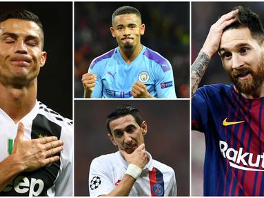 Berikut ini tujuh pesepak bola top dunia yang terlahir dari keluarga tidak mampu. Diantaranya, Cristiano Ronaldo, Lionel Messi dan Gabriel Jesus. (Foto Kolase AP dan AFP)