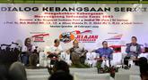 Sekretaris Jenderal Suluh Kebangsaan, Alissa Wahid, bersama Wahyu Muryadi,  Budi Santoso Tanu Wibowo, Abdul Mu'ti, dan Sudahdi Sanjaya tampil dalam Dialog Kebangsaan Seri II di Stasiun Gambir, Jakarta, Senin (18/2). (Liputan6.com/Johan Tallo)