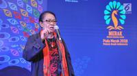 Menteri Pemberdayaan Perempuan dan Perlindungan Anak Yohana Yembise memberikan kata sambutan Malam Penganugerahaan Piala Media Ramah Anak (Merak) 2018, berlangsung di Jakarta Jummat (7/12). (Liputan6.com/Pool/Humas KPPPA)