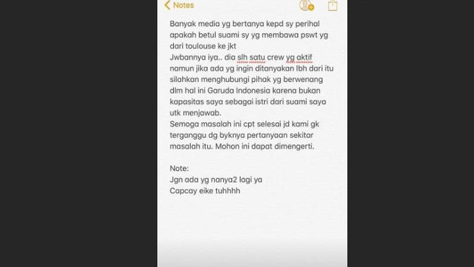 Unggahan Iis Dahlia mengakui suaminya yang menjadi pilot Garuda Indonesia pembawa onderdil Harley dan sepeda Brompton selundupan. (Instagram @isdadahlia)