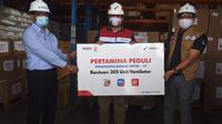 Pertamina memberikan sumbangan ventilator sebanyak 305 unit kepada Yayasan BUMN Hadir Untuk Negeri untuk didistribusikan kepada Rumah Sakit BUMN.