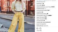 Jangan ragu untuk mengenakan busana berwarna kuning. Intip inspirasi gayanya dari ajang London Fashion Week berikut ini. (Foto instagram.com/@thestyleograph)