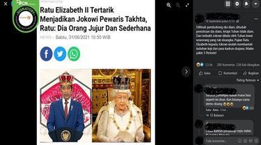 Gambar Tangkapan Layar Kabar Hoaks Ratu Elizabeth II Tertarik Jadikan Jokowi Perwaris Takhta Kerjaan Inggris (sumber: Facebook).