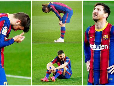 FOTO: Kekecewaan Lionel Messi dkk Usai Ditaklukkan Granada di Liga Spanyol