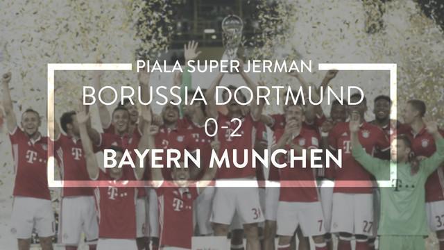 Video highlights Piala Super Jerman antara B. Dortmund melawan B. Munchen yang berakhir dengan skor 0-2, Minggu (15/8/2016) dini hari WIB