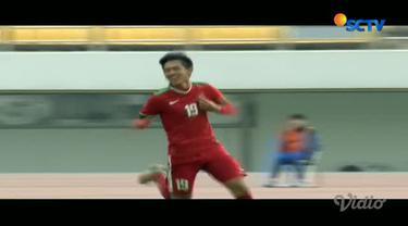 Gol Hanis Saghara perkokoh kemenangan Indonesia menjadi 2-0 di laga kedua Grup F Kualifikasi Piala Asia U-19 2018.
