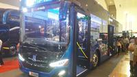 Bus listrik MAB di JIEXPO Kemayoran (Yurike/Liputan6.com)