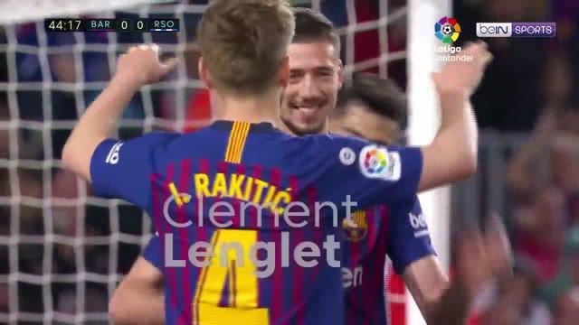 Berita video Clement Lenglet menyumbang satu gol saat Barcelona mengalahkan Real Sociedad dalam lanjutan La Liga 2018-2019 di Camp Nou, Sabtu (20/4/2019).