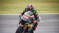 Pembalap Yamaha Tech 3, Hafizh Syahrin saat beraksi pada MotoGP Argentina 2018. (Twitter/Yamaha Tech 3)