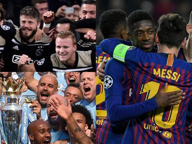 Treble Winners kemungkinan akan terjadi musim ini. Tercatat ada empat tim papan atas eropa yang siap meraih kesuksesan tersebut. Terakhir gelar treble winner diraih Barcelona empat tahun silam. (Kolase Foto AFP)