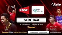 Live streaming semifinal Yonex Thailand Open 2021, Sabtu (16/1/2021) pukul 11.00 WIB dapat disaksikan melalui platform Vidio. (Dok. Vidio)