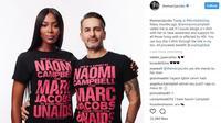 Untuk menunjukkan rasa kepeduliaannya terhadap HIV/AIDS, Marc Jacobs membuat koleksi kaos khusus yang bekerjasama dengan Naomi Campbell. (foto: instagram @themarcjacobs)