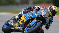 Pembalap Marc VDS, Thomas Luthi meraih hasil yang kurang bagus pada tes pramusim MotoGP 2018 di Sirkuit Sepang, Malaysia. (MOHD RASFAN / AFP)