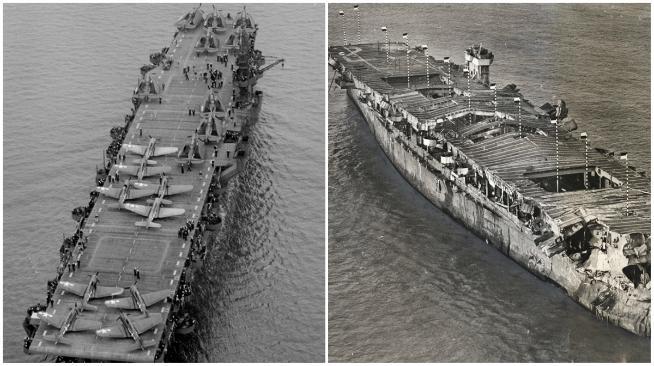 Kapal induk USS Independence sengaja ditenggelamkan sebagai bagian dari uji coba ledakan nuklir di Bikini Atoll, kepulauan Marshall. (Sumber Live Science)