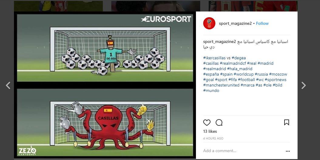 David Ge Gea dibandingkan dengan penjaga gawang timnas Spanyol sebelumnya, Iker Casillas (Sumber: Instagram/ @sport_magazine2)