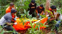 Polisi mengevakuasi jenazah korban pembunuhan di kebun karet Kabupaten Indragiri Hulu. (Liputan6.com/M Syukur)