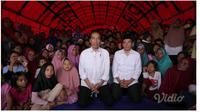 Presiden Jokowi memberi sambutan lewat tele conference dari Lombok. (Vidio.com)