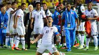 Ekspresi pemain Kolombia, James Rodriguez, setelah mencetak gol ke gawang Paraguay dalam laga Copa America Centenario di Pasadena, California, AS, (7/6/2016). (AFP/Frederic J. Brown)