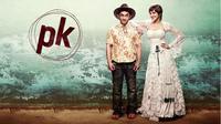 Aamir Khan dan Anushka Sharma dalam poster film PK