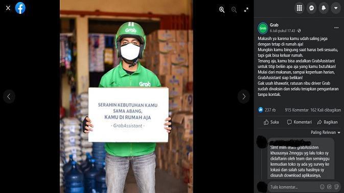 Gambar Tangkapan Layar Unggahan dari Akun Facebook Grab (sumber: Facebook).