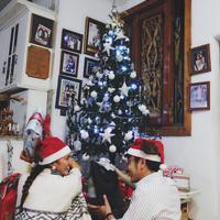 """Nadine dan Dimas terlihat berpose di depan pohon natal. """"Sebuah berkat di hari bahagia,"""" tulis Nadine Chandrawinata sebagai keterangan foto. (Foto: instagram.com/nadinelist)"""