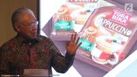 Menteri Perdagangan RI Enggartiasto Lukita memberi sambutan saat konferensi pers di Jakarta, Selasa (6/2). Pada 2018, Mayora tercatat telah mengekspor 1.000 kontainer Torabika Cappuccino. (Liputan6.com/Angga Yuniar)
