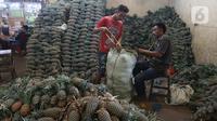 Pedagang memasukan buah nanas di pasar induk Kramat Jati, blok buah di Jakarta, Minggu (2/2/2020). Pemerintah berupaya melakukan peningkatan produksi buah-buahan dalam negeri dan diharapkan tidak hanya dilakukan untuk mendongkrak ekspor. (Liputan6.com/Herman Zakharia)