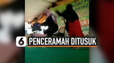 Penceramah Syekh Ali Jaber mengalami luka di tangan kanannya setelah ditusuk orang tak dikenal. Peristiwa ini terjadi di Bandar Lampung hari Minggu (13/9) saat Syekh Ali Jaber berceramah.