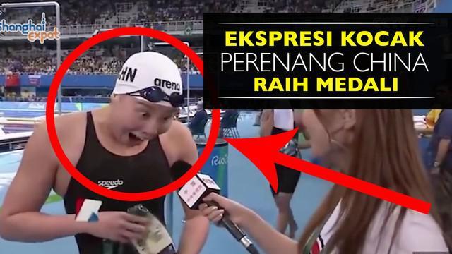 Video ekspresi lucu Fu Yuanhui atlet renang asal china saat sedang di wawancarai media televisi.
