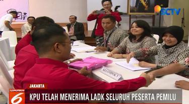 16 partai politik peserta pemilu dan dua pasangan calon presiden dan wapres telah menyerahkan berkas-berkas LADK.