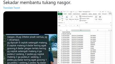 Nasi Goreng, Tabel Excel.