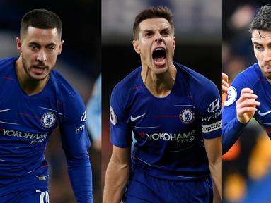 Chelsea tengah merasakan nuansa bagus dibawah arahan Maurizio Sarri. Raihan 33 gol jadi bukti betapa ganasnya Chelsea musim ini. Alhasil Chelsea digadang gadang salah satu kandidat yang pantas menjuarai gelar Premier League 2018/19. (AFP/Kolase Foto AFP)