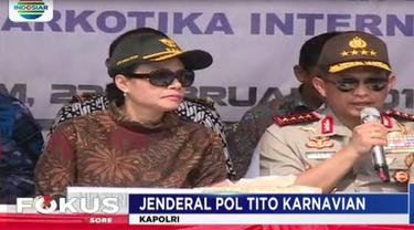 Kapolri Jenderal Polri Tito Karnavian beserta Menteri Keuangan Srimulyani hari ini datang ke Kota Batam untuk merilis hasil penangkapan sabu.