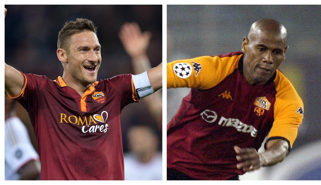Francesco Totti adalah legenda AS Roma. Ia menghabiskan seluruh kariernya di I Lupi karena rasa cintanya yang teramat besar kepada klub. Ia juga memegang rekor sebagai pemain tertua yang pernah memperkuat AS Roma. Siapa saja pemain yang lain? (Kolase Foto AFP)