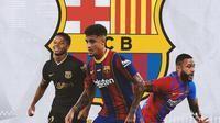 Barcelona - Ansu Fati, Philippe Coutinho, Memphis Depay (Bola.com/Adreanus Titus)