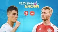 Piala Eropa - Euro 2020 Rep Ceska Vs Denmark - Patrik Schick Vs Simon Kjaer (Bola.com/Adreanus Titus)
