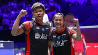 Ekspresi ganda campuran Indonesia, Praveen Jordan/Melati Daeva Oktavianti, setelah menjuarai Prancis Terbuka 2019, Minggu (27/10/2019). (PBSI)
